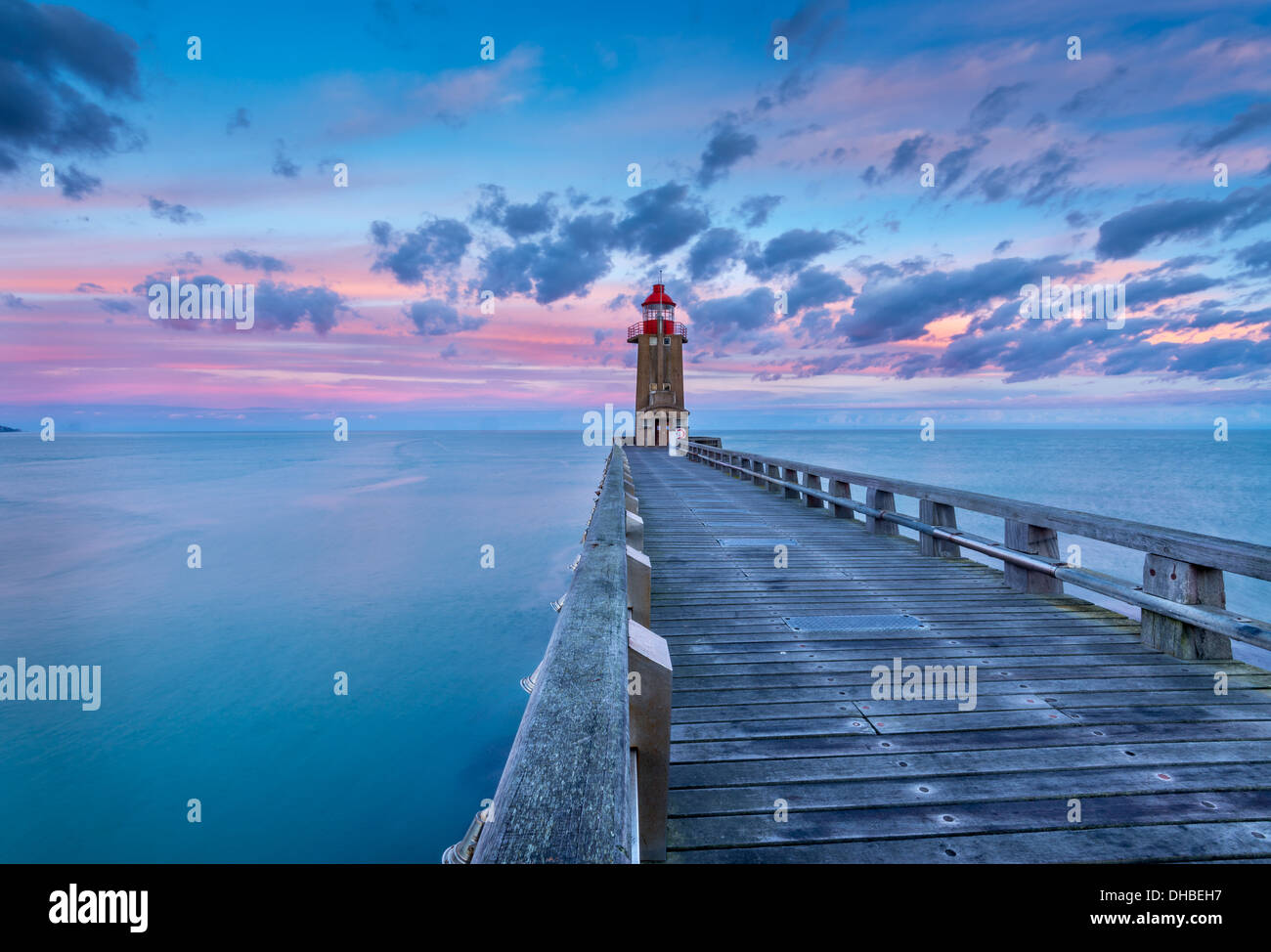 Lighthouse. Fecamp Lighthouse. France Normandie - Stock Image