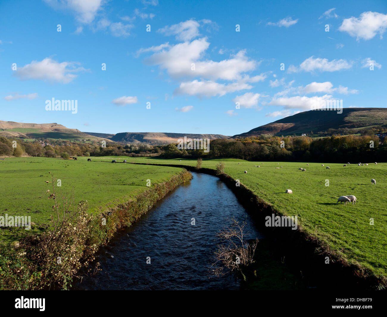 River Tame looking towards Greenfield and moors, Greenfield,Saddleworth,Oldham,UK. - Stock Image