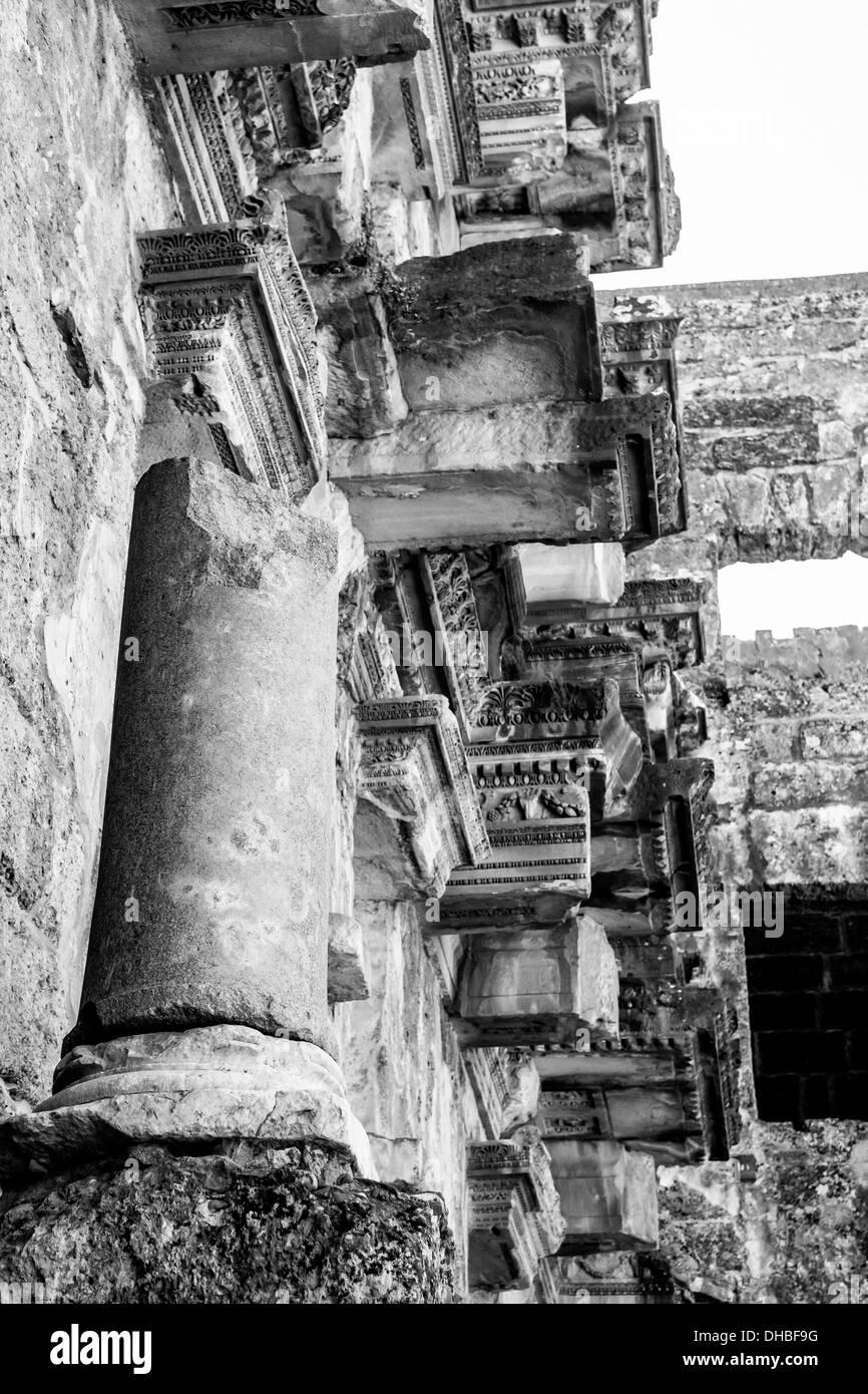 Ancient Roman ruins at Aspendos near Antalya in Southern Turkey. - Stock Image