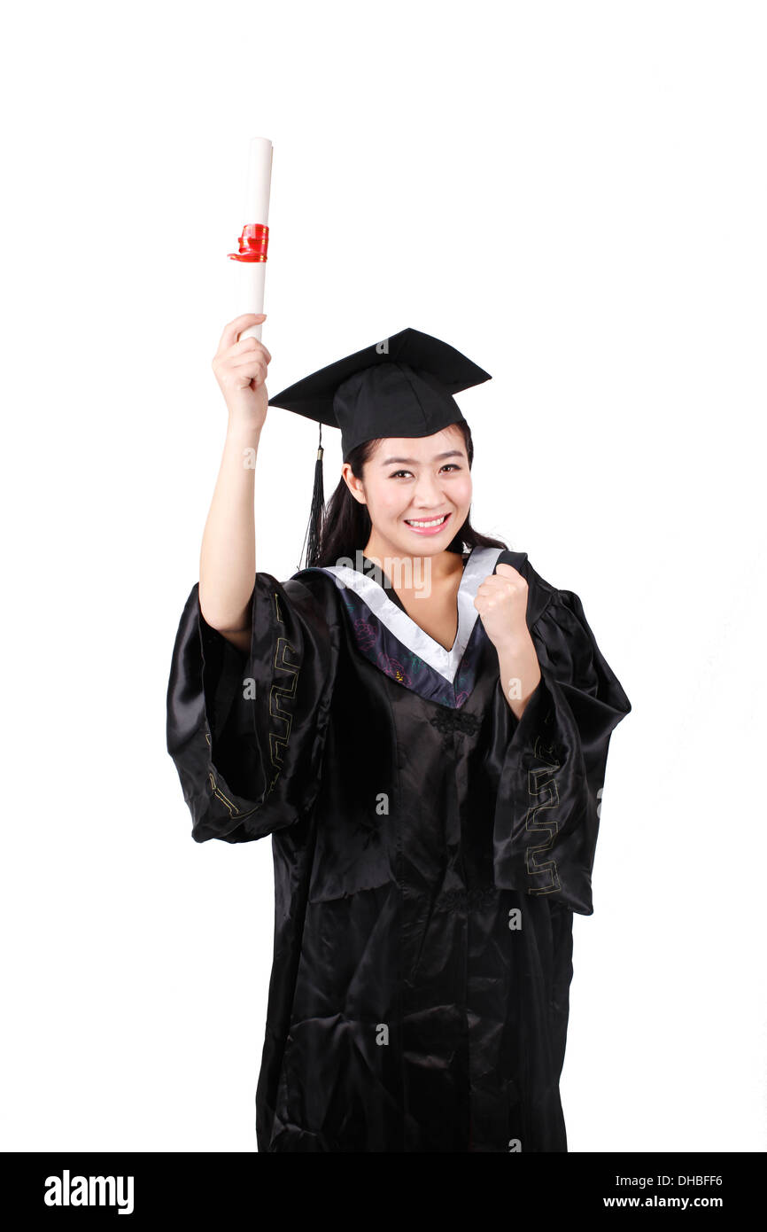 Young girl student holding a diploma - Stock Image