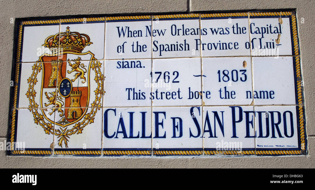 USA. Louisiana. New Orleans. Spanish Street Name Tile Murals. 'San Pedro Street'. - Stock Image