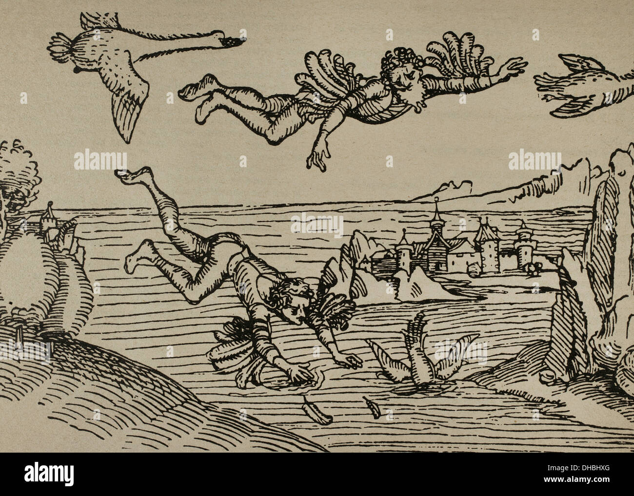 Icarus and his father Daedalus flying. Engraving by Albrecht Durer, 1493. - Stock Image