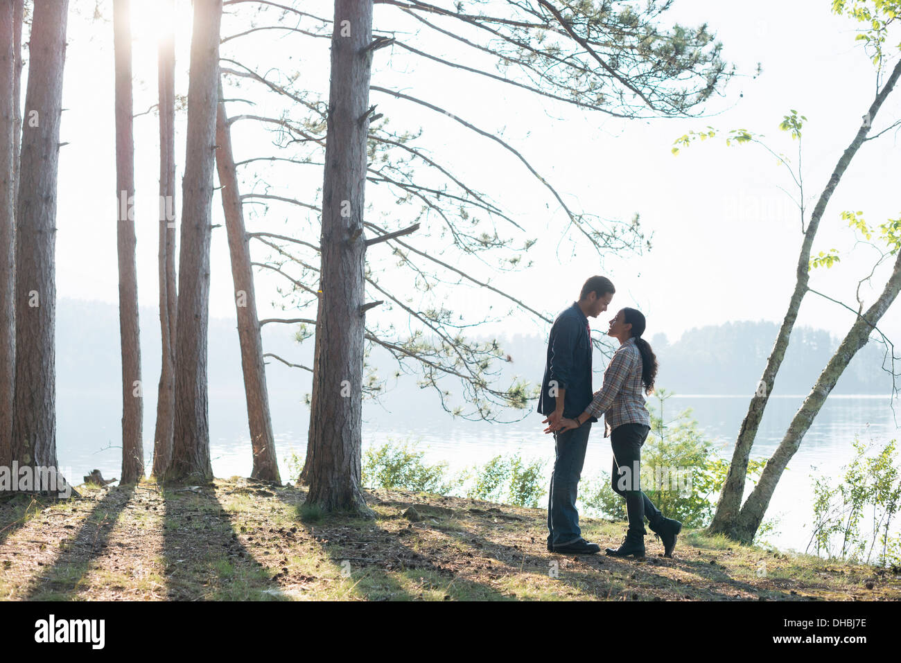 Lakeside.  A couple walking in the shade of pine trees in summer. - Stock Image