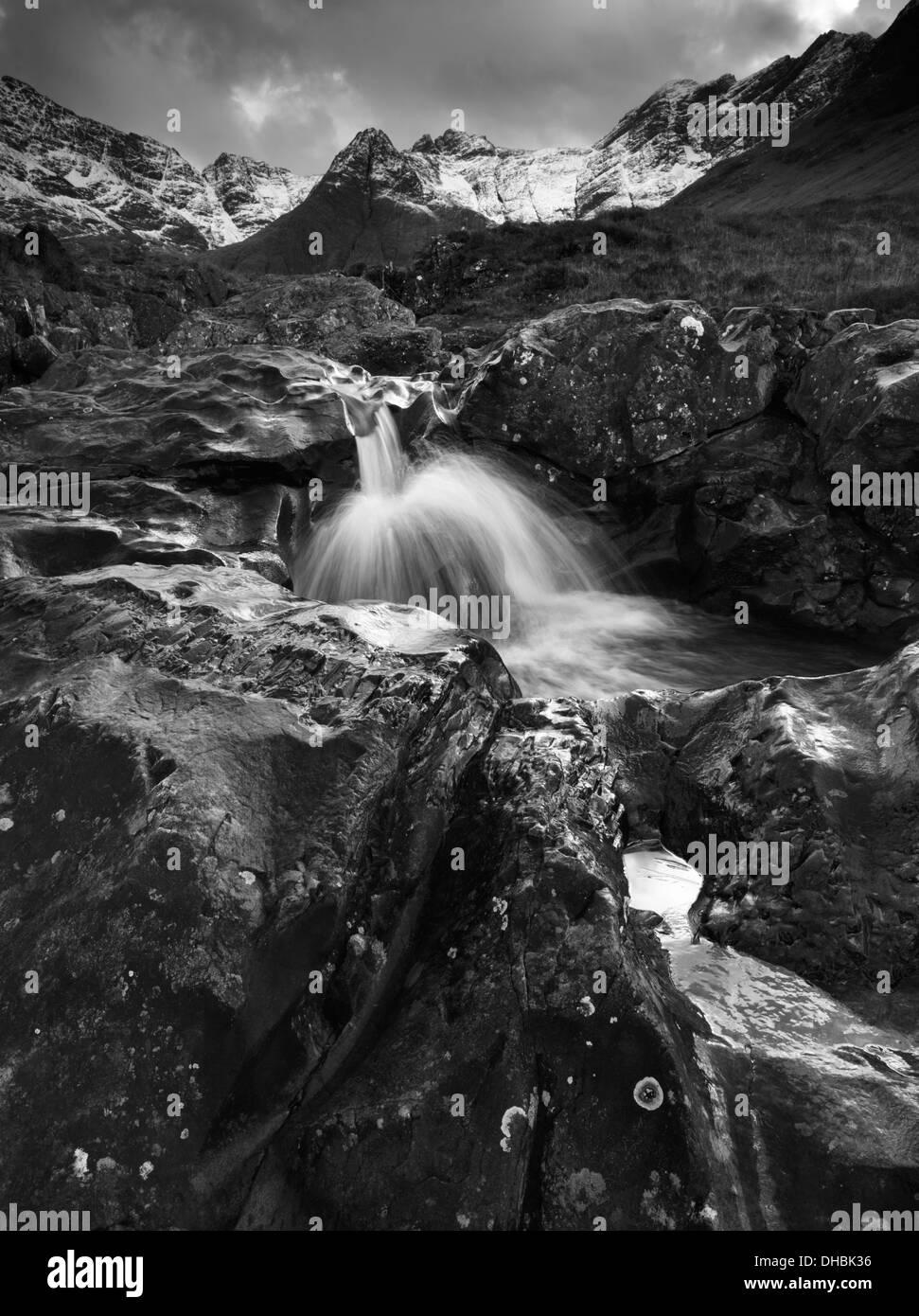 The dramatic scenery on the Fairy Pools walk in Glen Brittle, Isle of Skye, Scotland - Stock Image