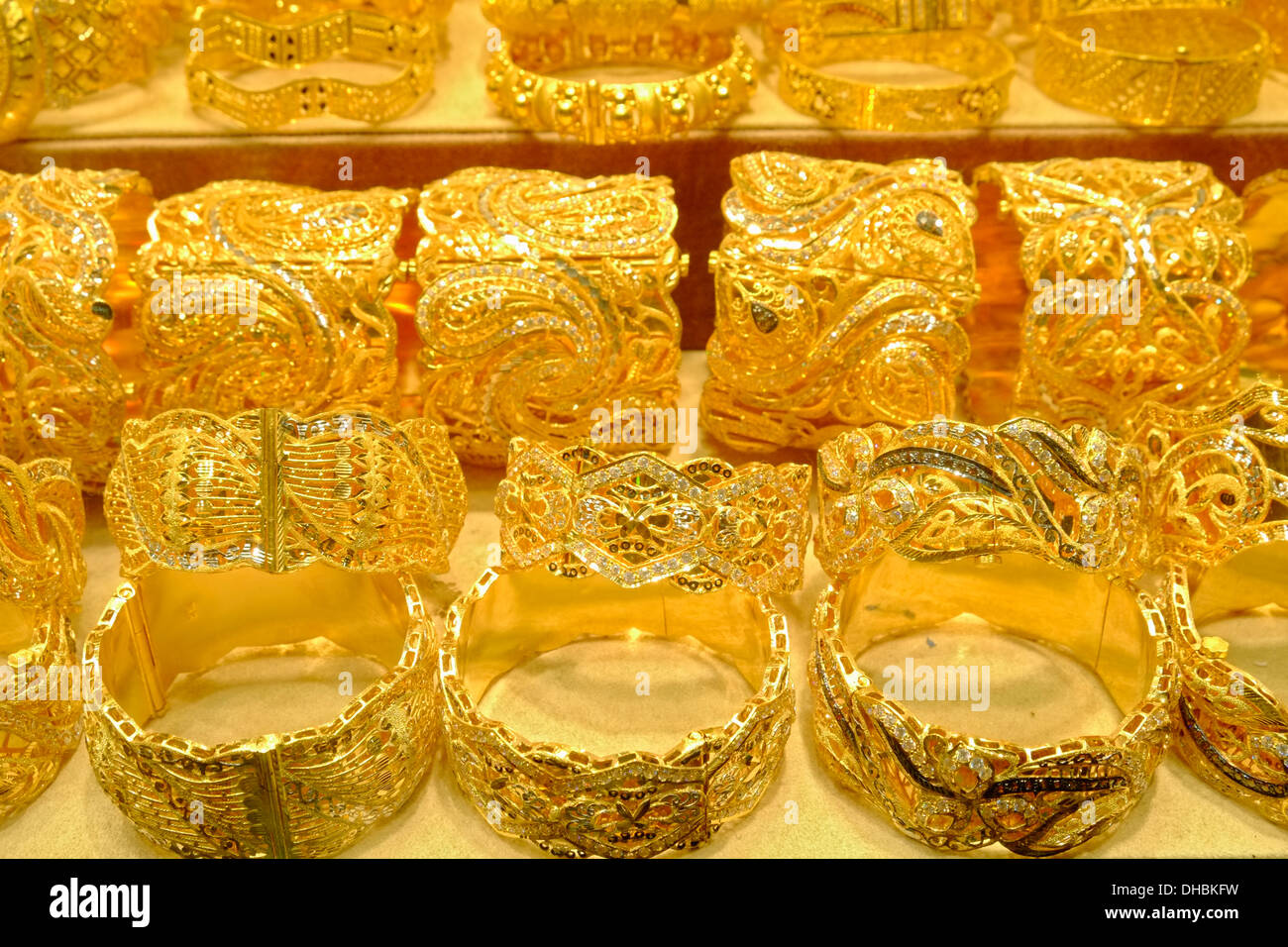 Gold bracelets jewelery for sale in shop in Gold Souk in Deira district of  Dubai United Arab Emirates aaf46bcc0694