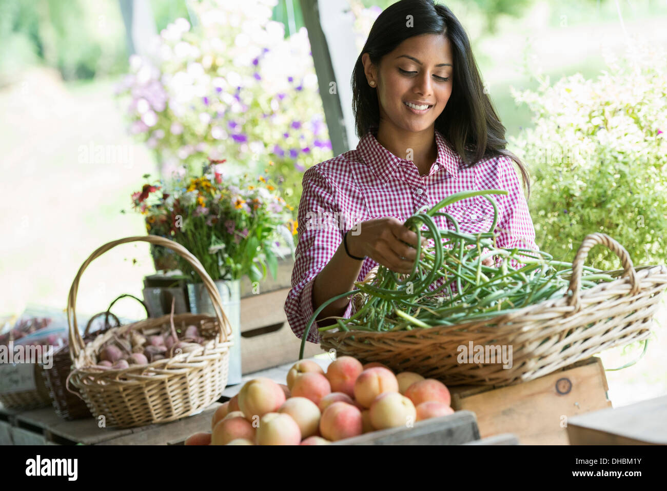 A farm stand with fresh organic vegetables and fruit.  A woman holding bunches of carrots. Stock Photo
