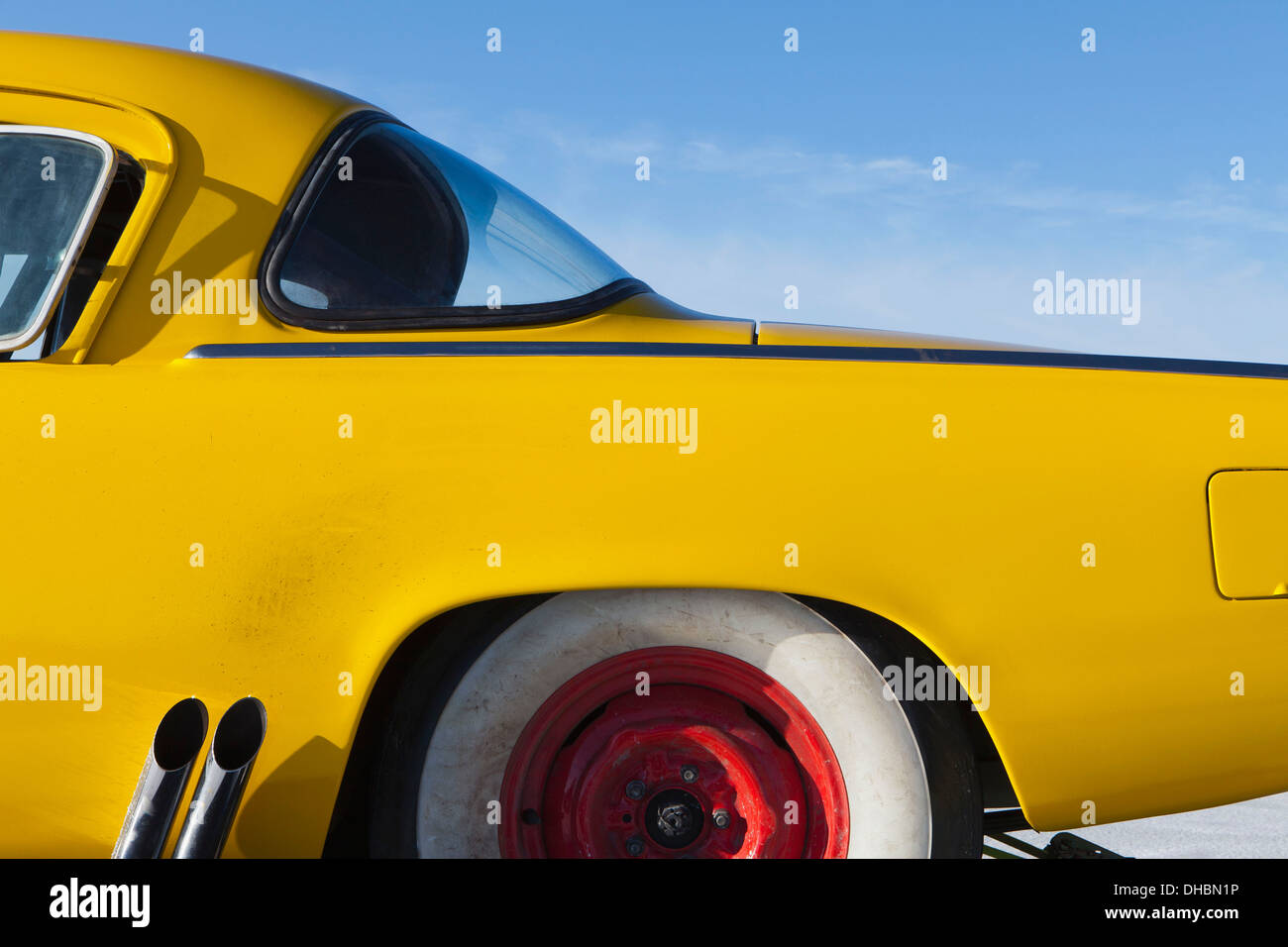 A vintage Studebaker race car, rear section, on Bonneville Salt Flats race track, during Speed Week. - Stock Image