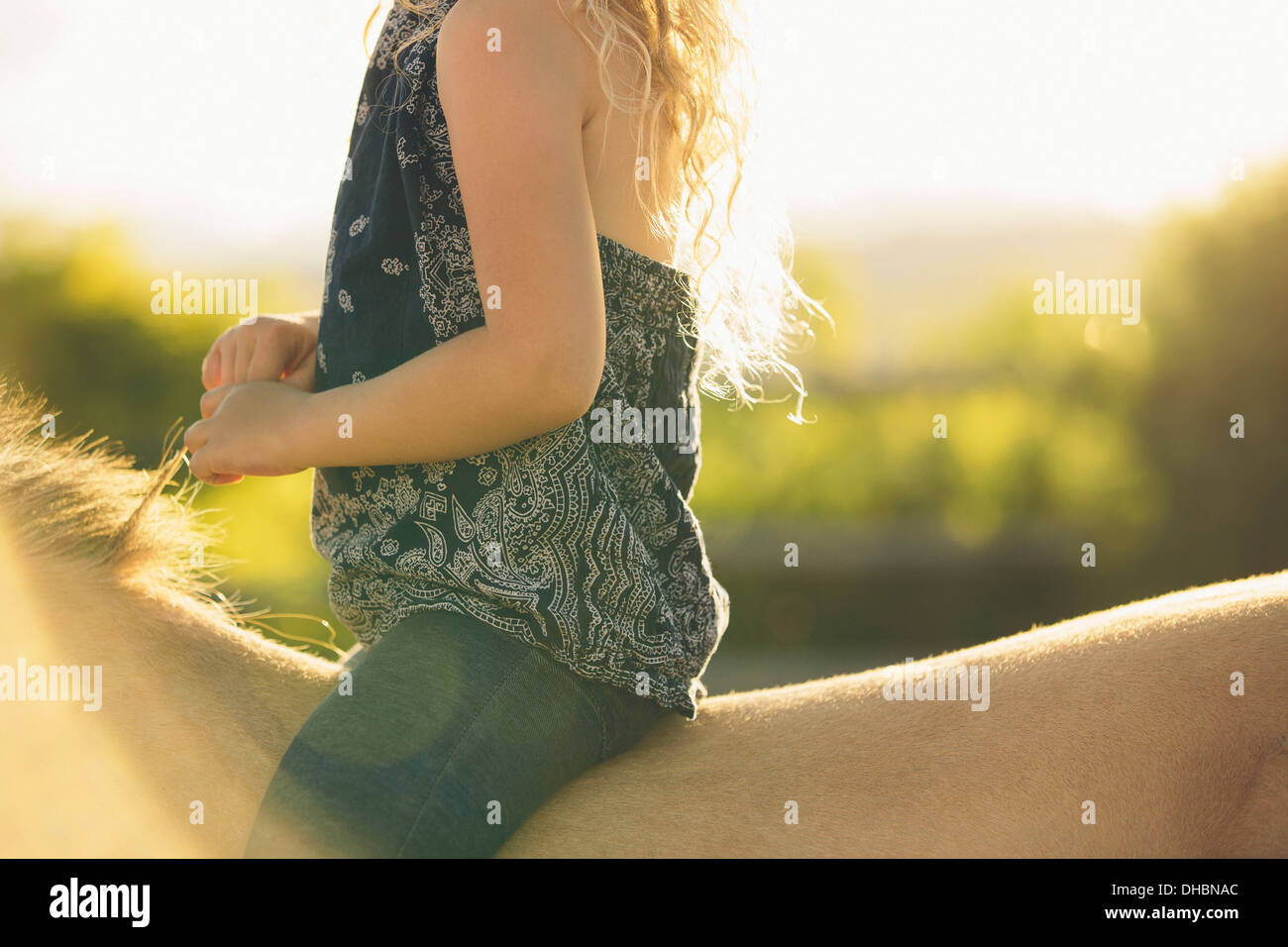 A young girl sitting on a horse. - Stock Image