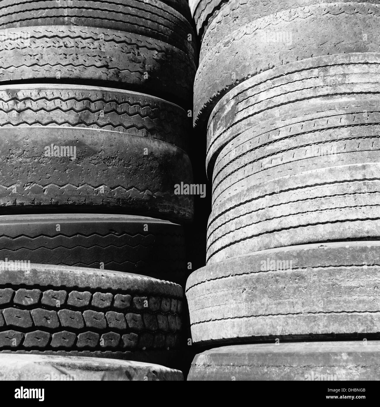 Close of a stack of discarded worn old automobile tyres, near Wendover in Utah. - Stock Image