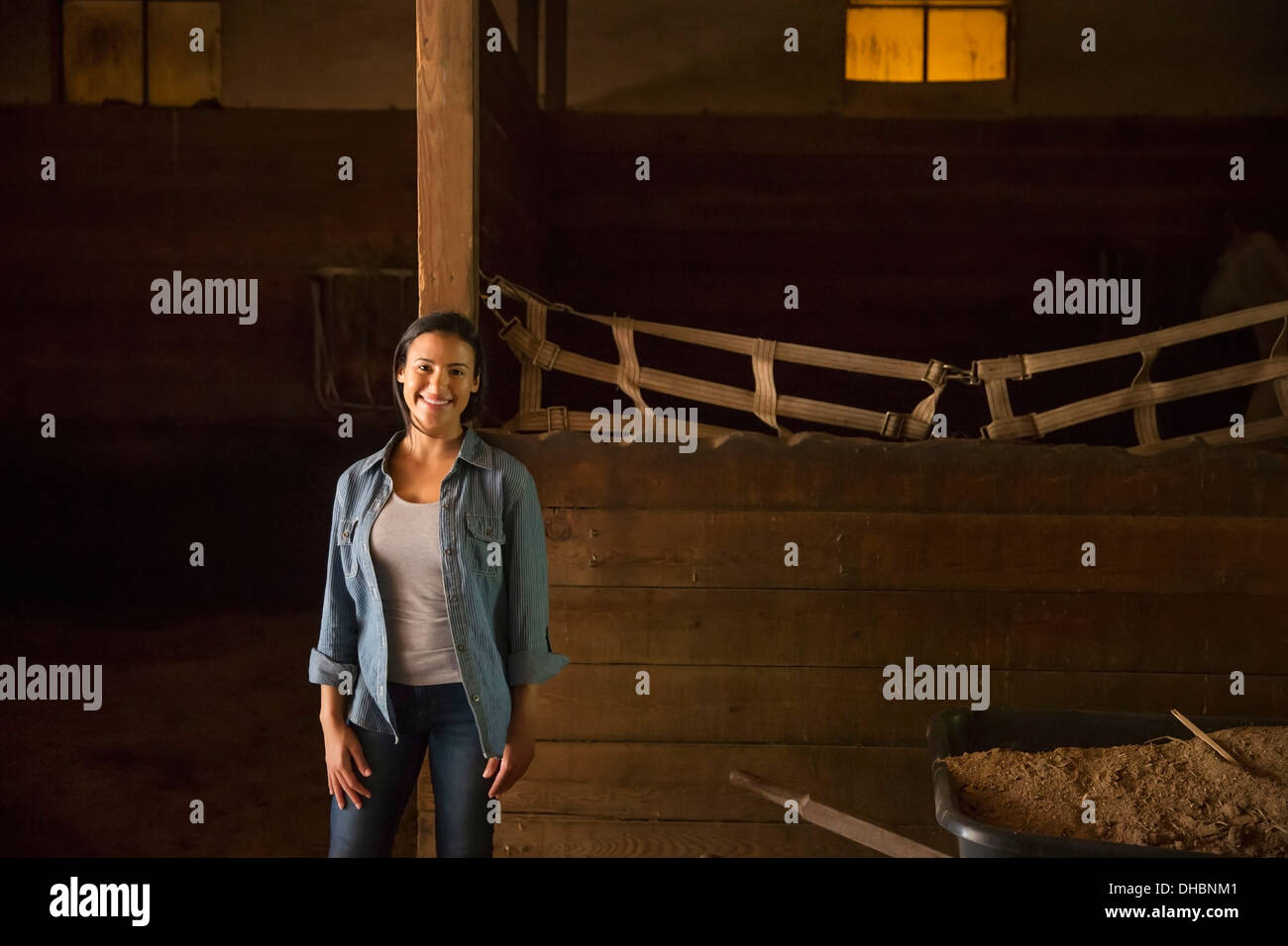 An organic farm in the Catskills.  A woman in a horse stable. - Stock Image