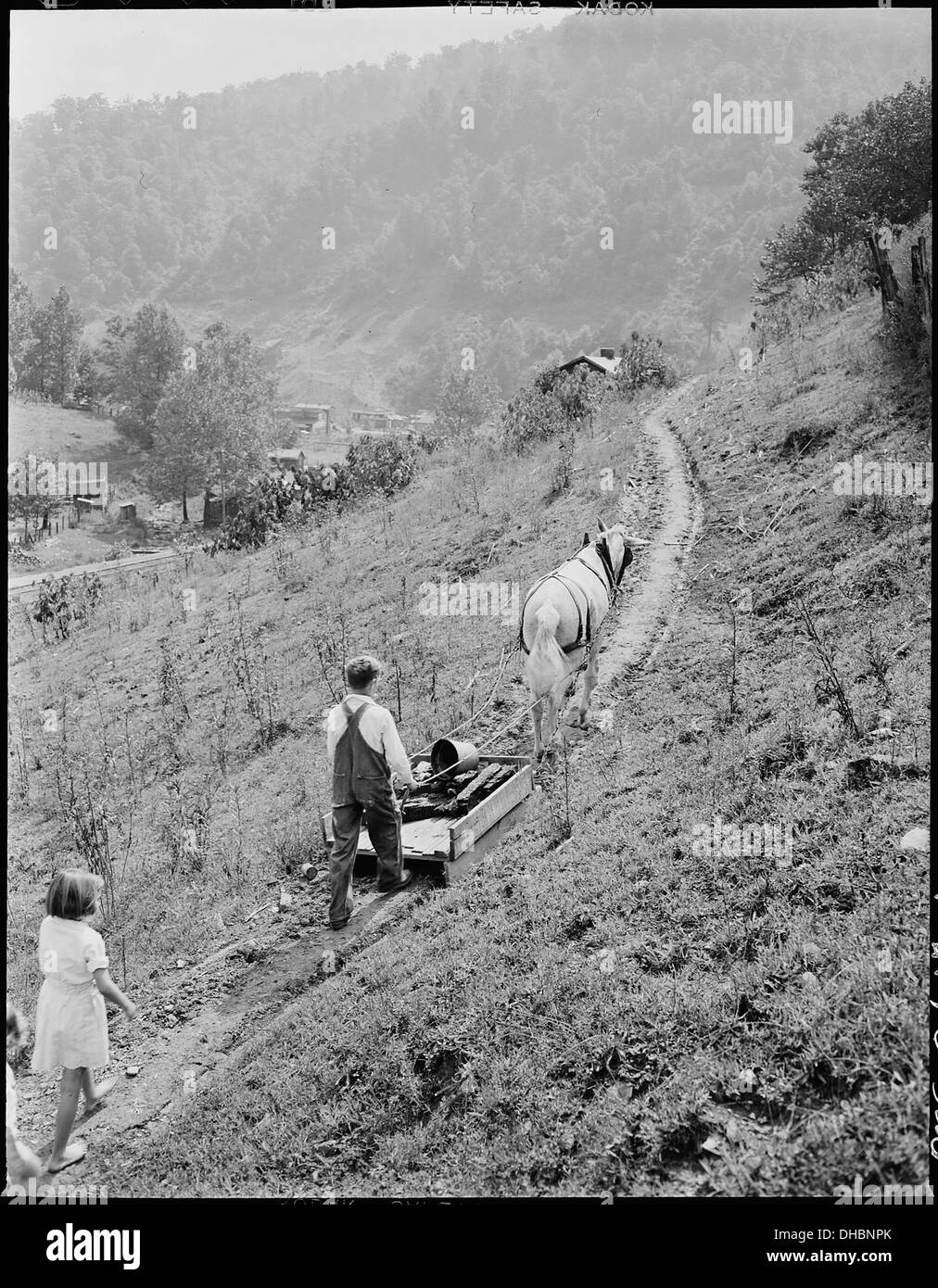 Franklin D. Sergent sledding home household coal from the mine. The company charges $2.80 monthly for household coal... 541333 - Stock Image