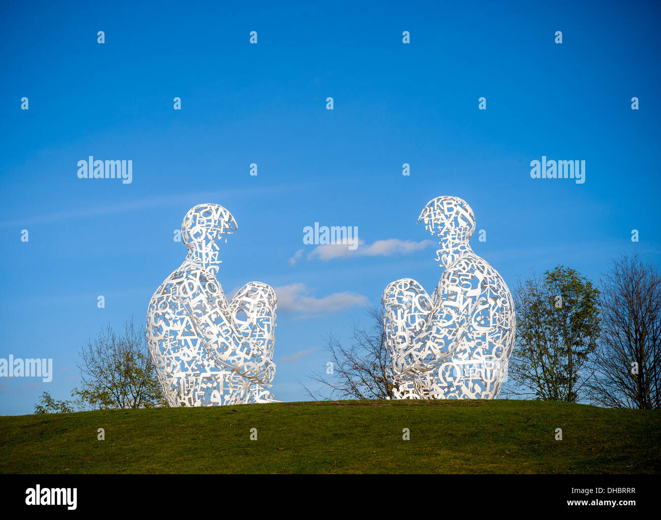 Mirror sculpture by Jaume Plensa at Yorkshire Sculpture Park, UK. - Stock Image