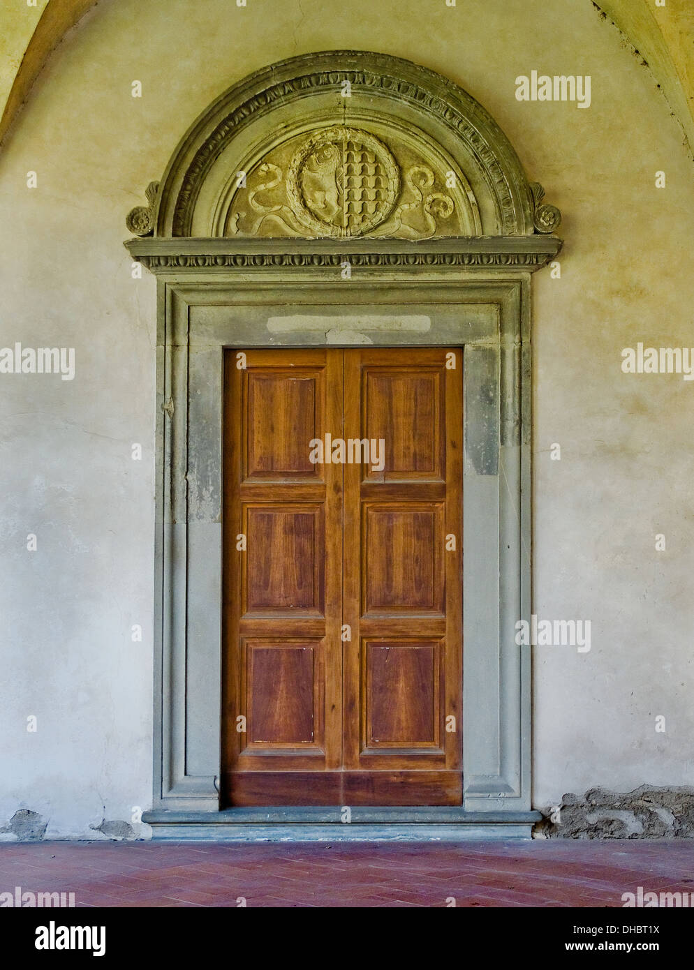 Renaissance door in the gallery of cloister of Basilica di Santa Croce. Florence Italy & Renaissance door in the gallery of cloister of Basilica di Santa ...