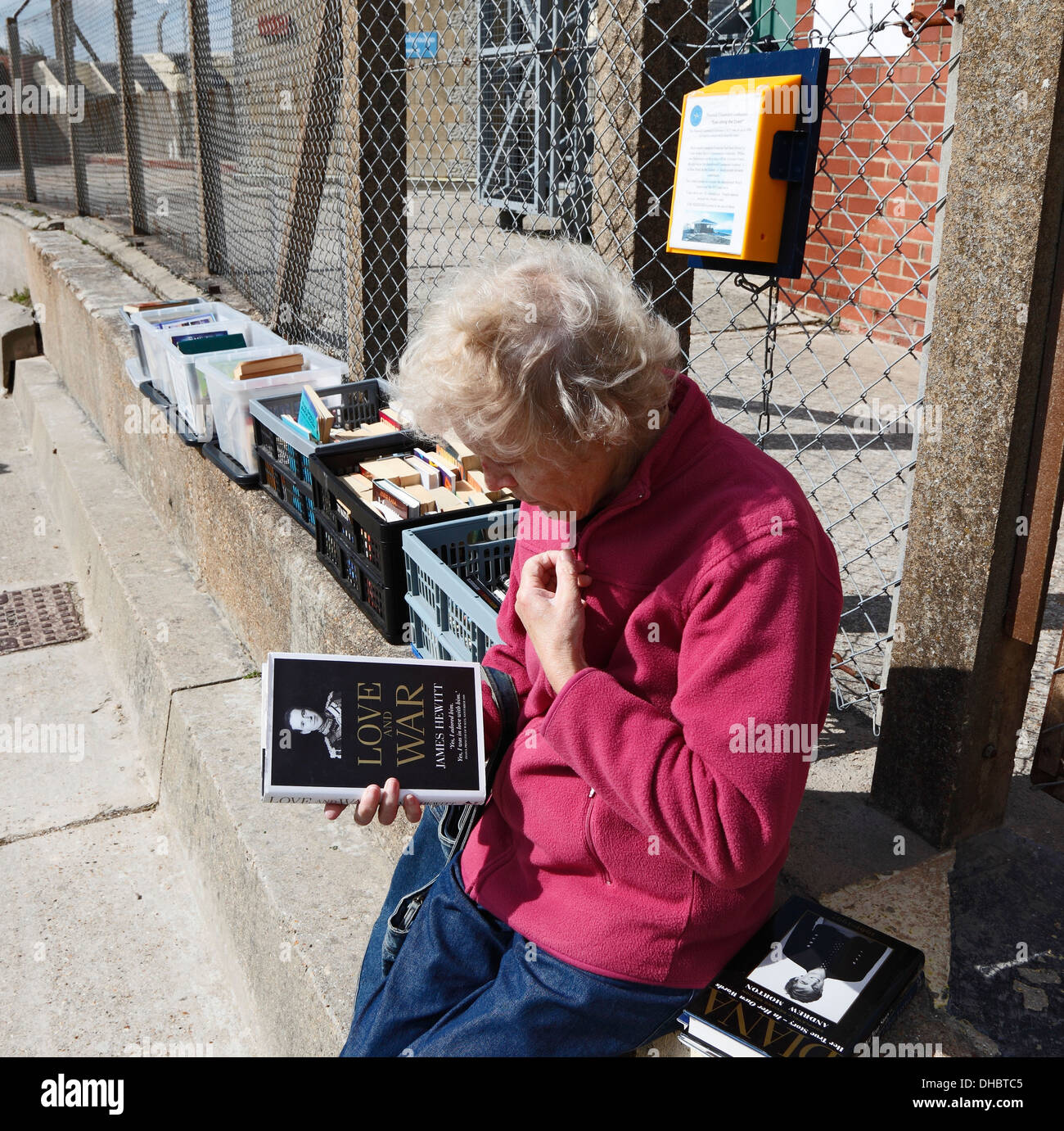 Lady looking at book considering purchase from secondhand bookstall Needles Isle of Wight Hampshire England - Stock Image