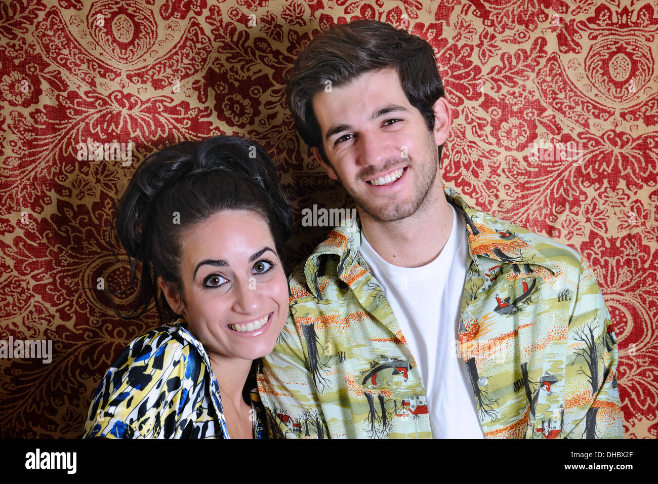 Geeky couple portrait. - Stock Image