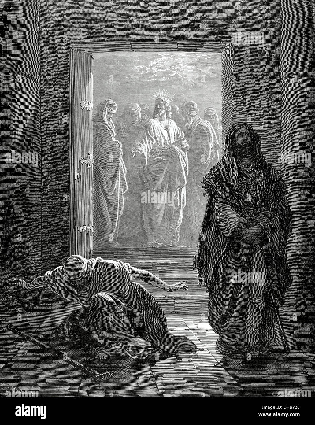 New Testament. Gospel of Luke. Chapter XVIII. Parable of the Pharisee and the Publican. Engraving. - Stock Image