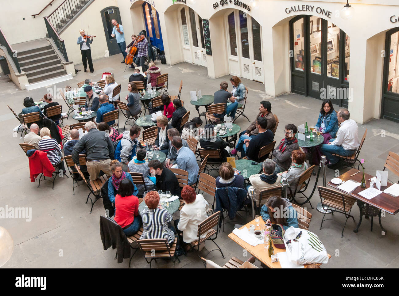 People in Restaurant, Covent Garden Market, London, England, UK - Stock Image