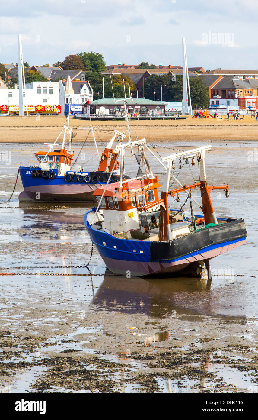 12/10/2013 View from Southend pier of fishing boats, seafront and Jubilee beach. - Stock Image