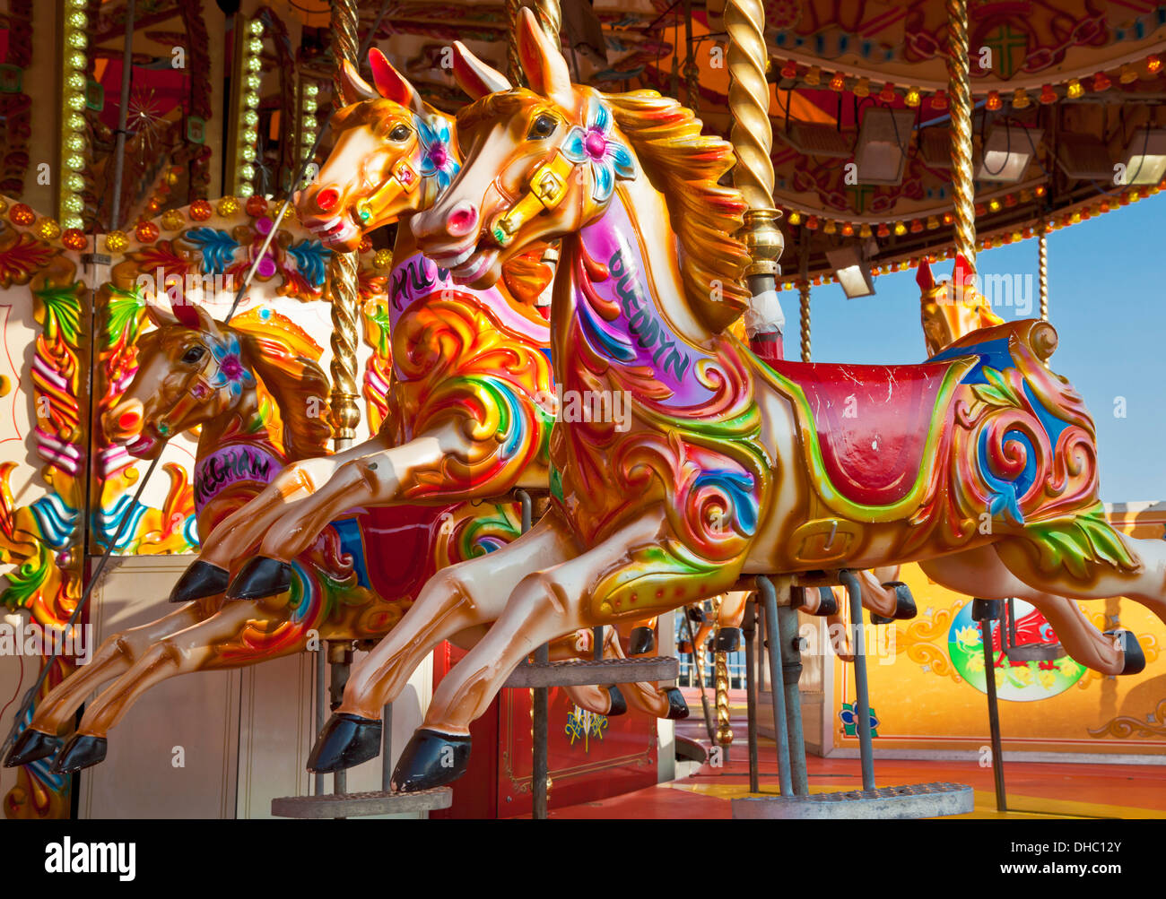 Fairground Ride Horses On A Merry Go Round With Nobody It