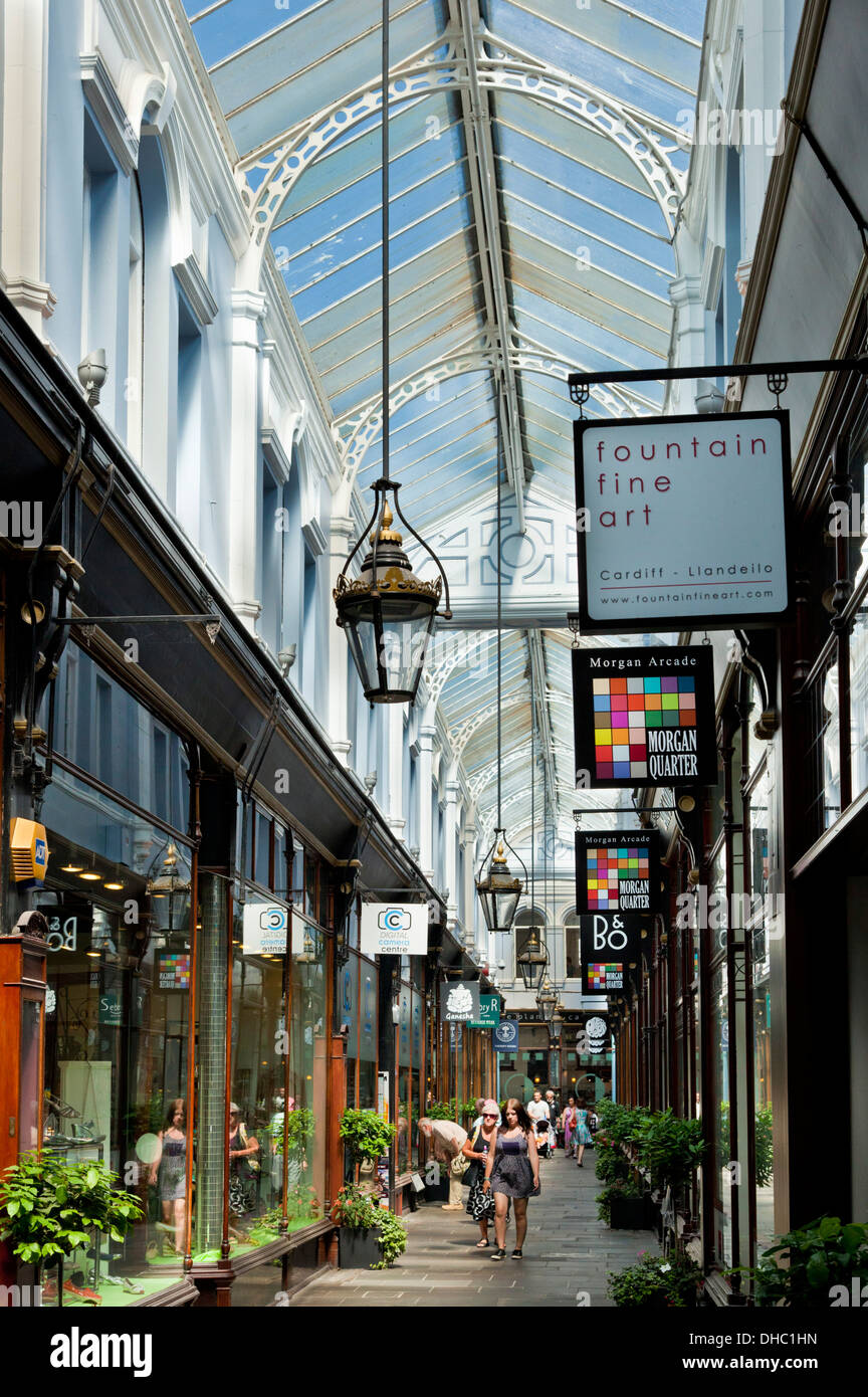 Shops in The Royal arcade in The Morgan Quarter Cardiff city centre center South Glamorgan South Wales UK GB EU Europe - Stock Image