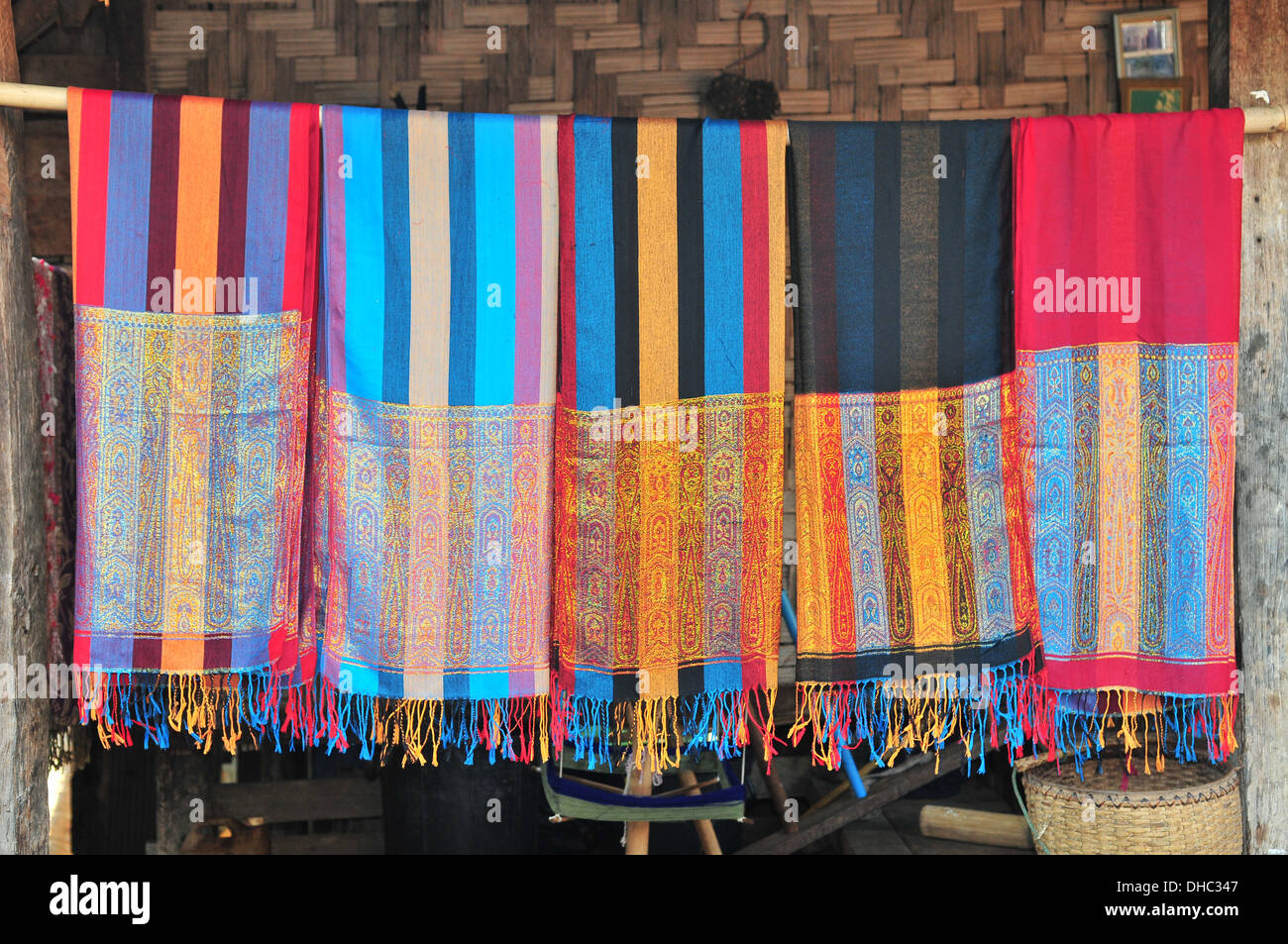 Handwoven scarves from Karen Long Neck hill tribe (Mae Hong Son,Thailand) Stock Photo