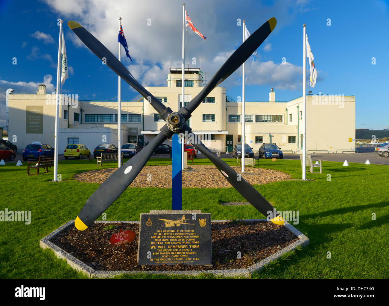 The Art Deco terminal building at Shoreham airport with memorial to British, Commonwealth and Allied airmen , West Sussex, UK - Stock Image