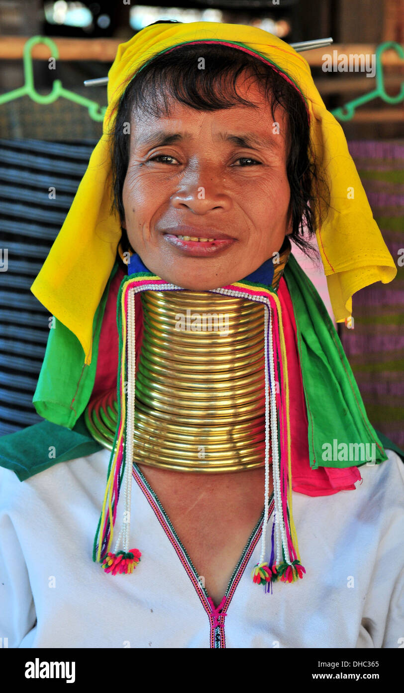 Hill Tribes in Thailand – A Long Neck Karen Woman (Mae Hong Son) - Stock Image