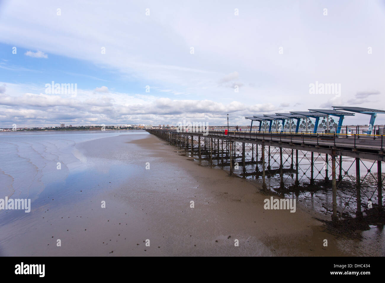 12/10/2013 Pier end train station on Southend pier. The longest pier in the World measuring 1.33 miles into the Thames river. - Stock Image