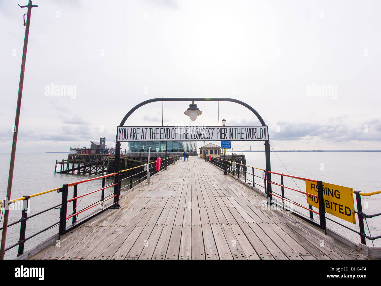 12/10/2013 Pier end sign on Southend pier. The longest pier in the World measuring 1.33 miles into the Thames river. - Stock Image