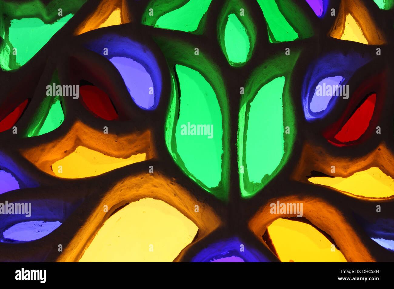Stained glass window at the Rock Palace (Dar Al Hajar), near Wadi Dhar, Yemen - Stock Image