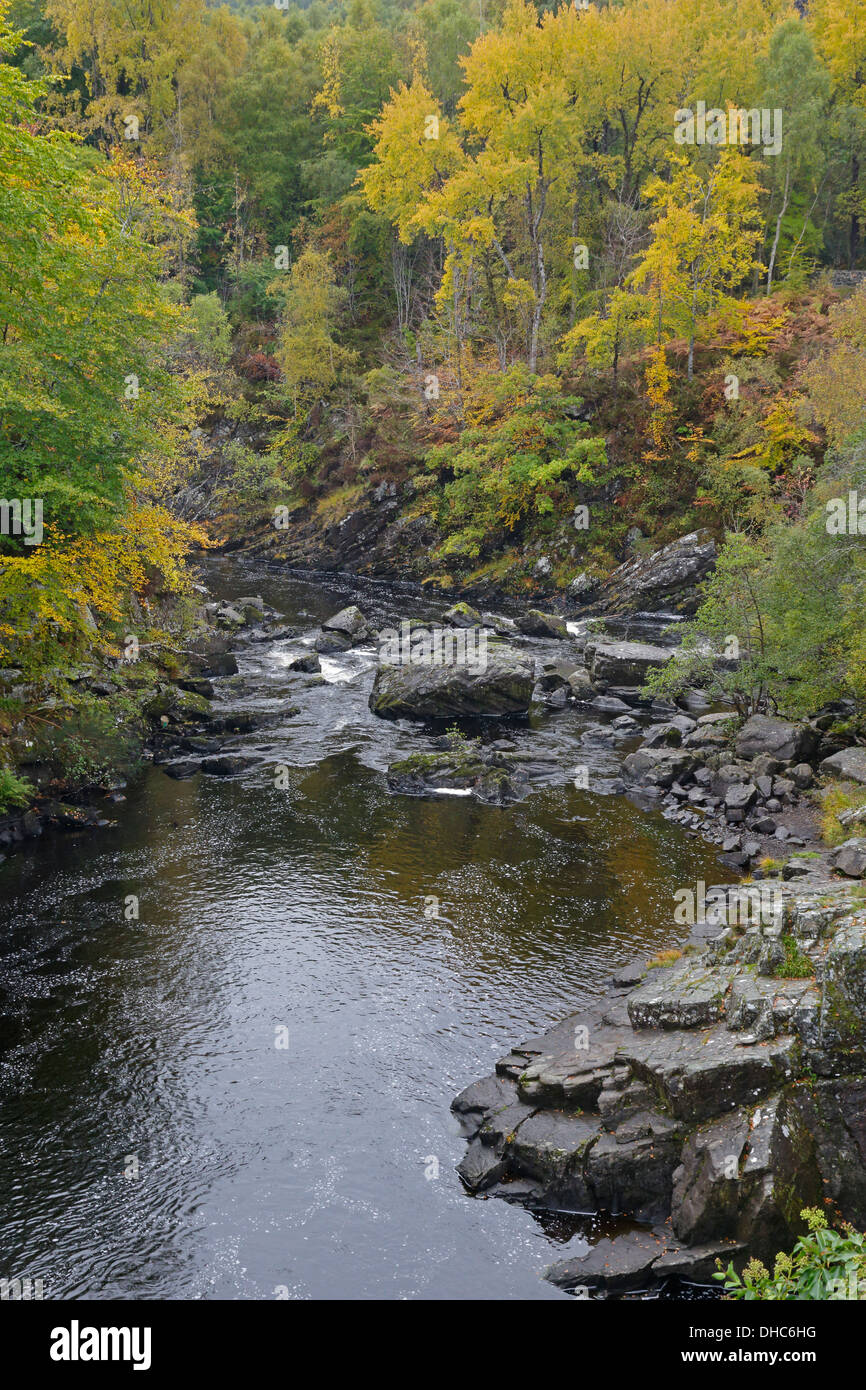 View of the Blackwater River from Rogie falls in autumn - Stock Image
