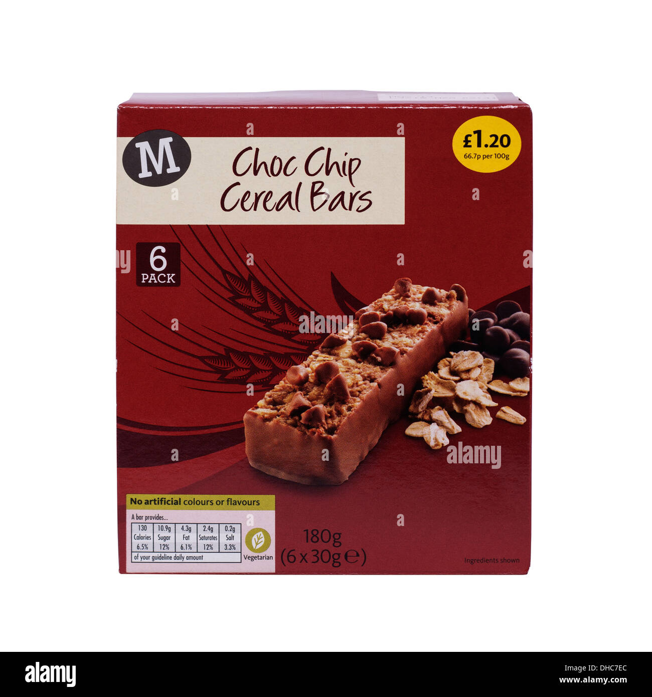 A multipack box of Morrisons choc chip cereal bars on a white background - Stock Image
