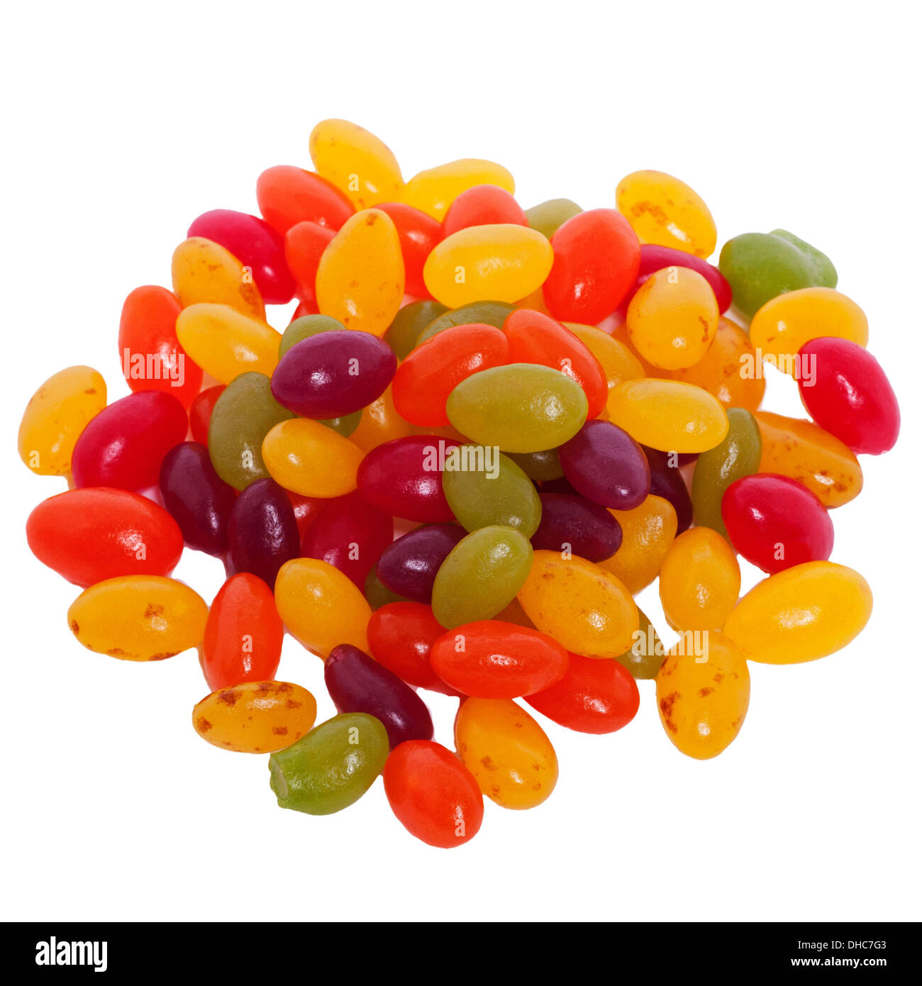 b7386fe7 A selection of coloured jelly beans candy sweets on a white background