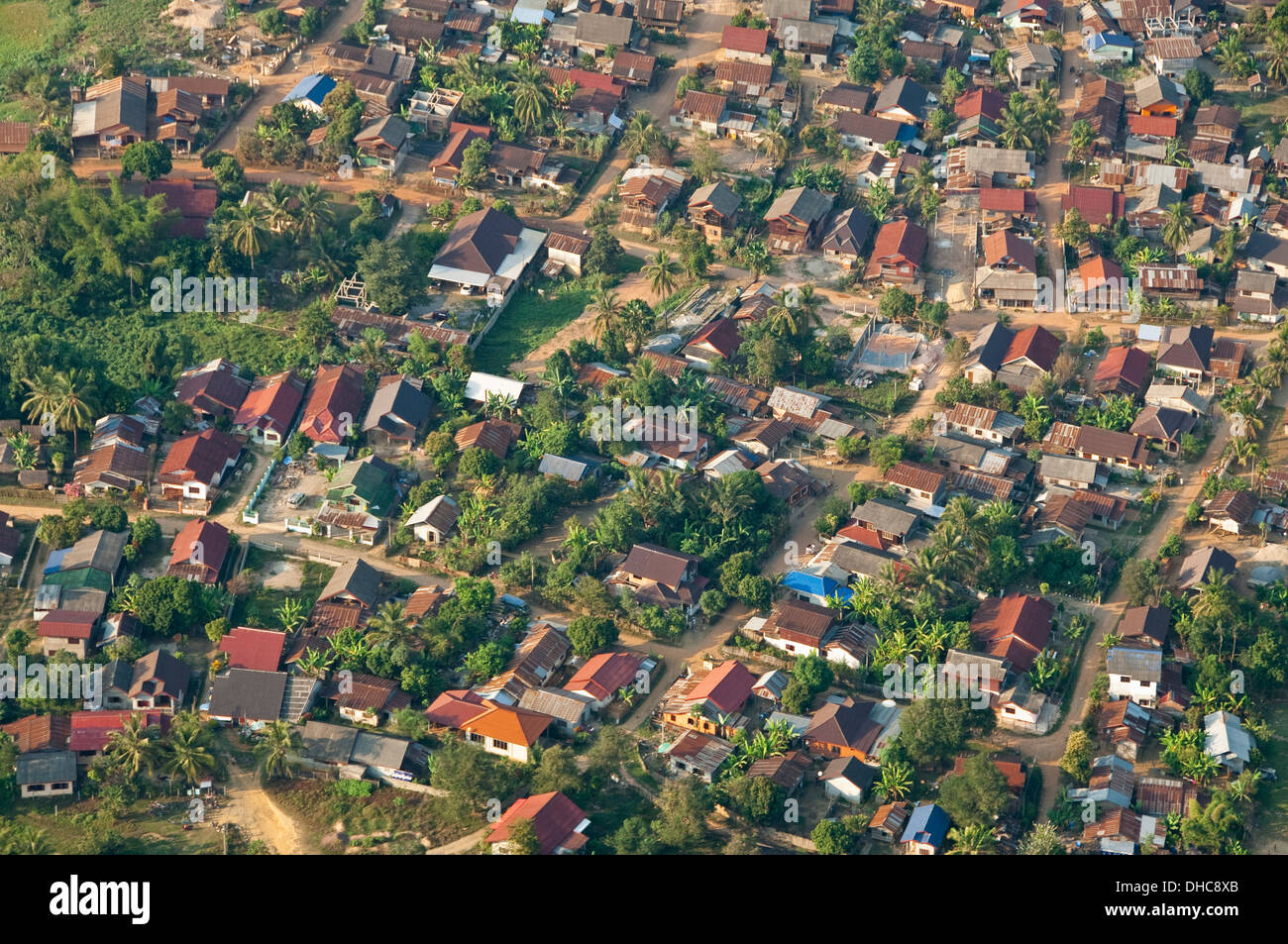 Horizontal Aerial View Of Homes And Houses In Vang Vieng