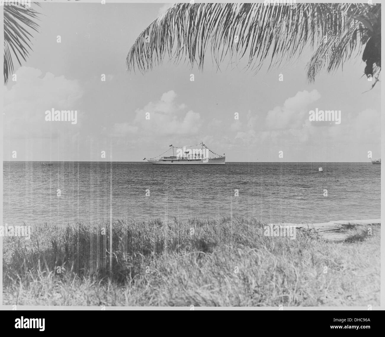 Photograph of President Truman's yacht, the U.S.S. WILLIAMSBURG, anchored at Frederiksted Harbor, St. Croix, Virgin... 200474 - Stock Image