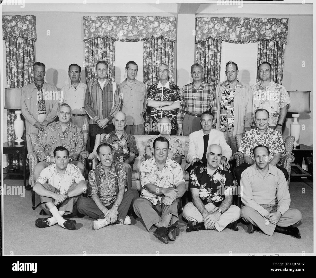 e8b49dbb7 Photograph of President Truman with members of his official party (many  attired in Hawaiian shirts), on vacation in... 200549