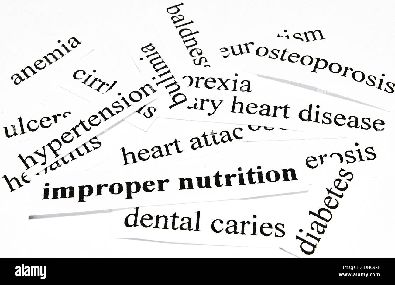 cut out of words related with diseases stock photo 62351479 alamy