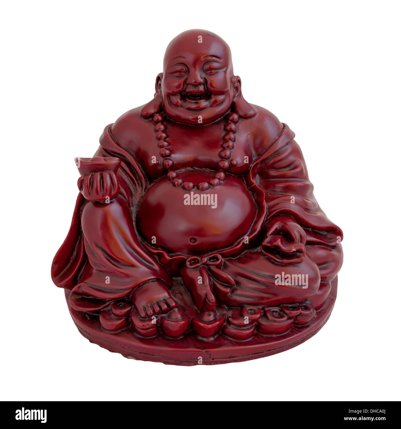 Statuette of smiling sitting Buddha isolated on white - Stock Image