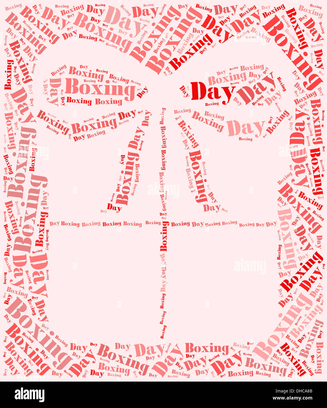tag or word cloud boxing day related in shape of gift box stock