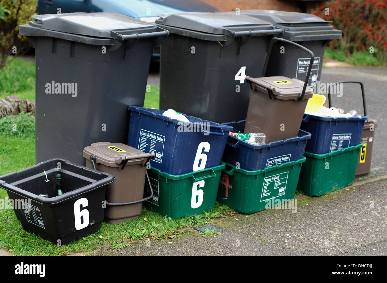 Rubbish bins recycling - Stock Image