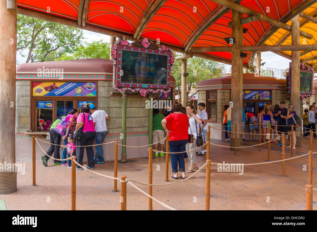 Ticket booths at Islands of Adventure, Universal Orlando Resort, Orlando, Central Florida, USA - Stock Image
