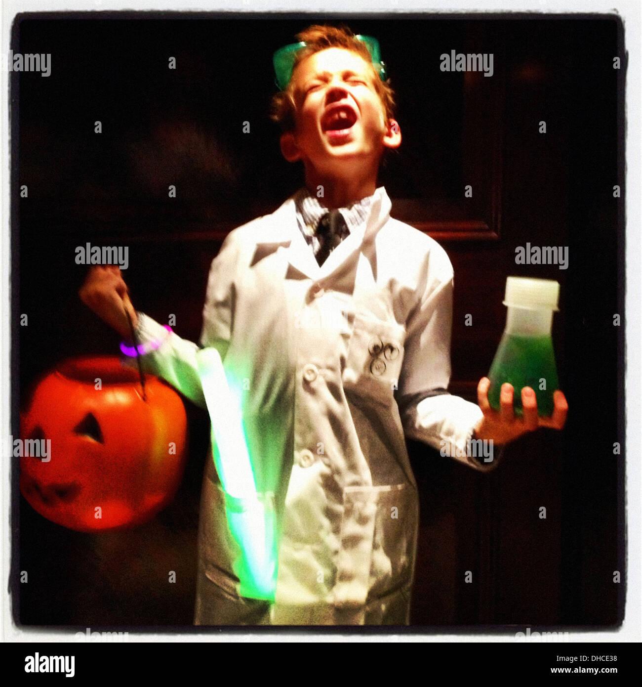 child boy halloween costume mad scientist stock photos & child boy