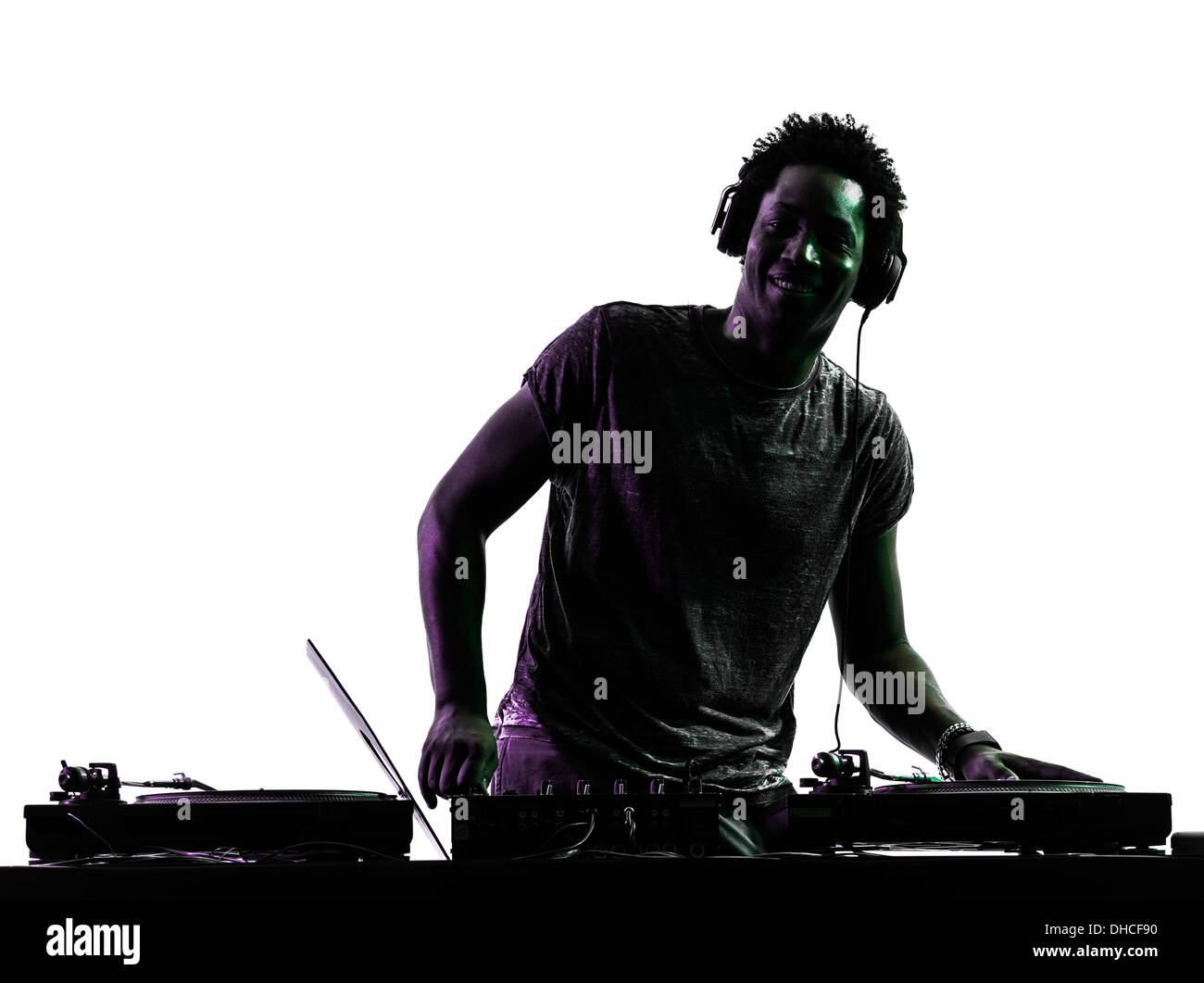 one disc jockey man in silhouette on white background - Stock Image