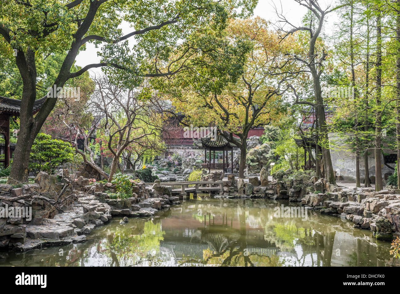 detail of the historic Yuyuan Garden created in the year 1559 by Pan Yunduan in Shanghai China - Stock Image