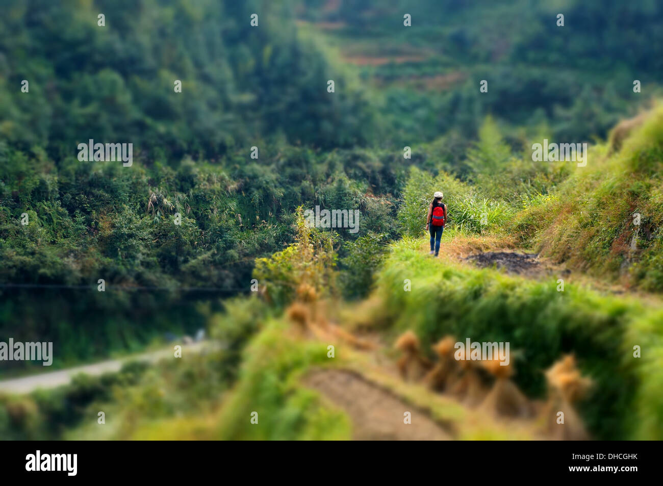 A lone female traveller in Wuyuan, Jiangxi, China - Stock Image
