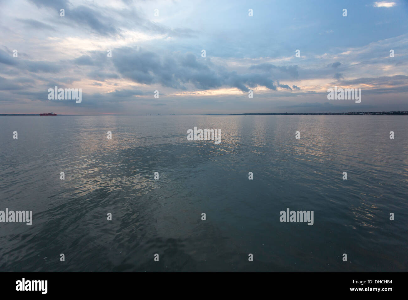 12/10/2013 Sunset over the river Thames from the end of Southend pier. - Stock Image