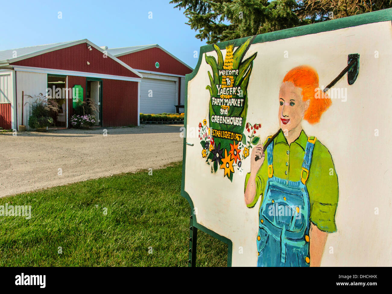 Sign for Yaeger's Farm Market near DeKalb, Illinois, a town along the Lincoln Highway - Stock Image