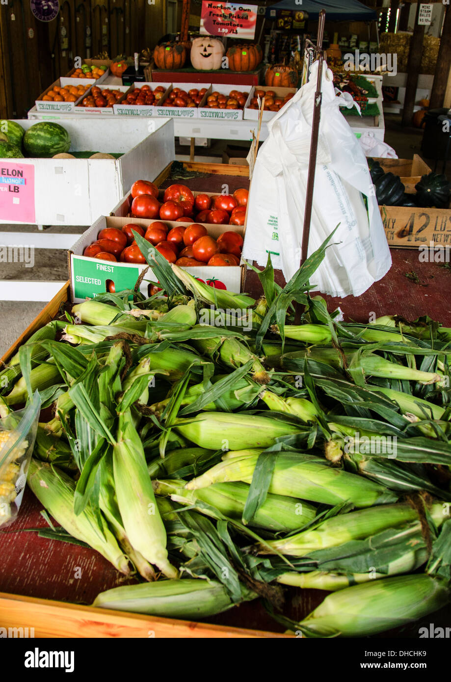 Corn and other produce for sale at Norton Farm near St. Charles, Illinois, a town along the Lincoln Highway - Stock Image