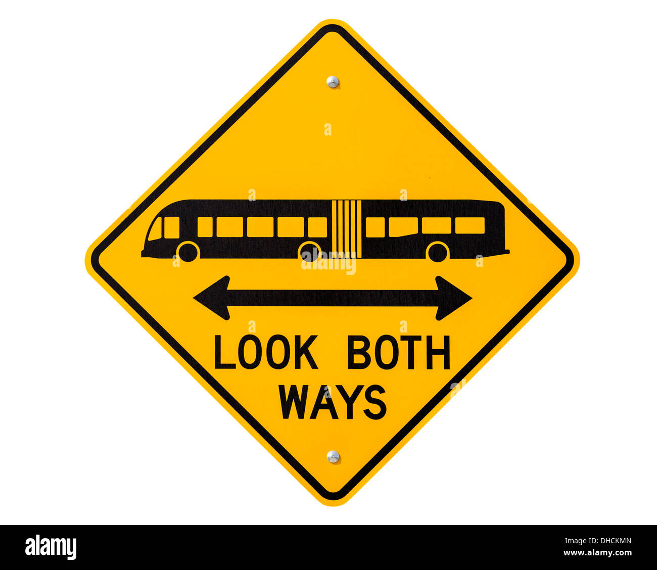 Look both ways bus and tram warning sign isolated with clipping path.. - Stock Image