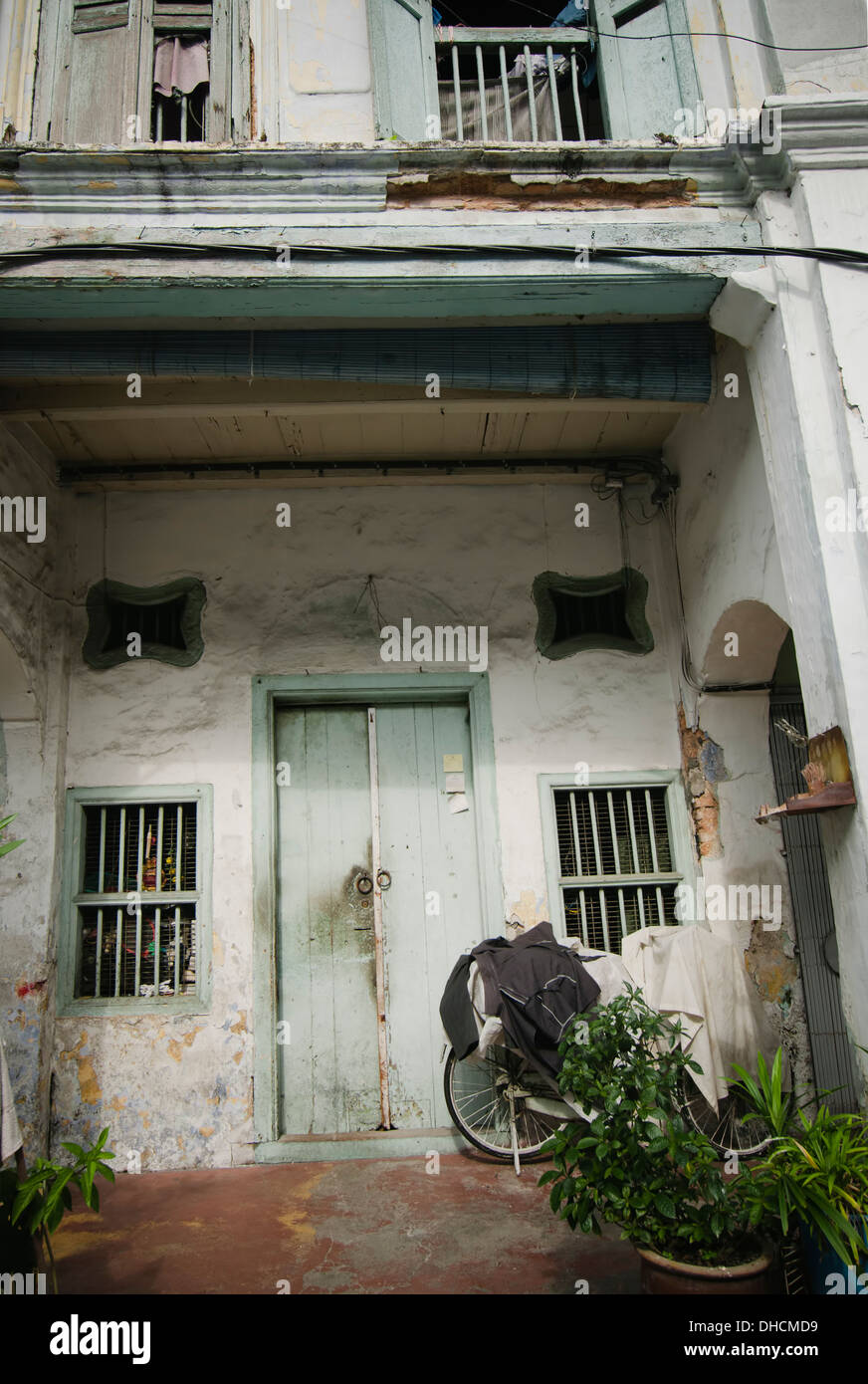 A pre-war  shophouse in Georgetown UNESCO World Heritage Site, Penang, Malaysia - Stock Image
